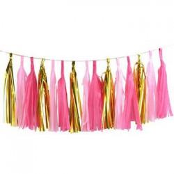 Tassel Garland - Gold Fuschia Pink