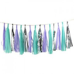 Tassel Garland - Silver Mint Purple