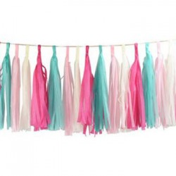 Tassel Garland - White Pink Blue