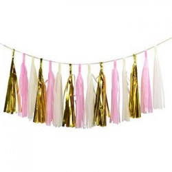 Tassel Garland - Gold Pink White