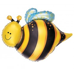 "Happy Bee Foil Balloon - 35"" W x 29"" H"