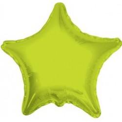 "19"" Star Metallic Lime Green Foil Balloon"
