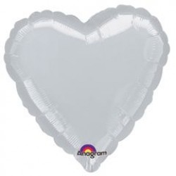 "18"" Heart Metallic Silver Foil Balloon"