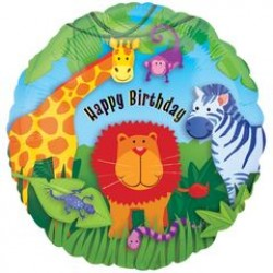 "Jungle Animals Birthday 18"" Foil Balloon"