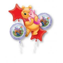 Winnie the Pooh Hug Foil Balloon Bouquet of 5 (with weight)