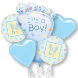 It's A Boy Foil Balloon Bouquet of 5 (with weight)