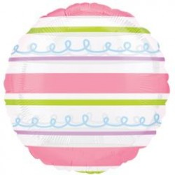 """Pink & Green Stripes 18"""" Clear Balloon"""