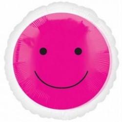 "Smiley Face 17"" Foil Balloon - Pink"