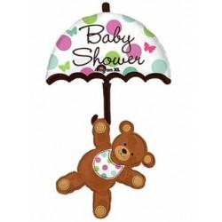 "Baby Shower Umbrella & Bear Multi-Balloon - 24"" W x 49"" H"