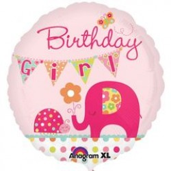 "Ahoy Birthday Girl Pink Elephant 18"" Foil Balloon"