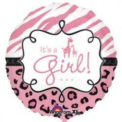 "Wild Safari Baby Girl 18"" Foil Balloon"