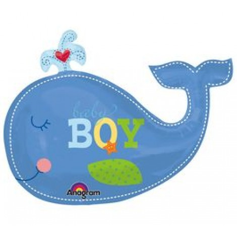 "Ahoy Baby Boy Whale Foil Balloon - 34"" W x 24"" H"