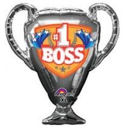 """#1 Boss Trophy Supershape Foil Balloon - 30""""W x 33""""H"""