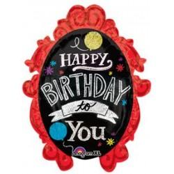 """Chalkboard Frame Birthday Foil Balloon - 34"""" W x 39"""" H"""