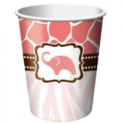 Wild Safari Pink 9oz Paper Cup, 8pcs