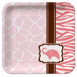 "Wild Safari Pink 7"" Paper Plate, 8pcs"