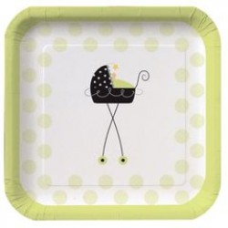 """Stroller Fun 9"""" Square Paper Plate, 8pcs"""