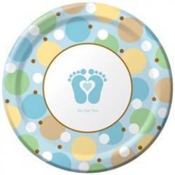 "Tiny Toes - Blue 9"" Paper Plate, 8pcs"