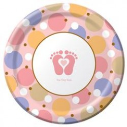 """Tiny Toes - Pink 9"""" Paper Plate, 8pcs"""