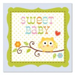 Happi Tree Sweet Baby Boy Beverage Napkin 24.8 x 24.7cm, 16pcs