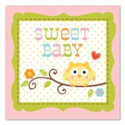 Happi Tree Sweet Baby Girl Beverage Napkin  24.8 x 24.7cm, 16pcs