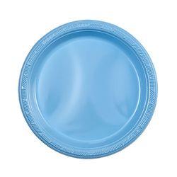 """Light Blue 7"""" Plastic Plate, 15pcs"""
