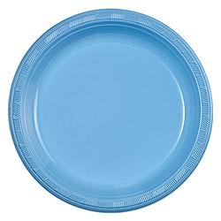 """Light Blue 9"""" Plastic Plate, 10pcs"""