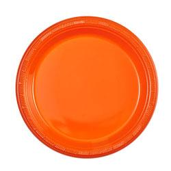 """Orange 7"""" Plastic Plate, 15pcs"""