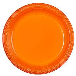 """Orange 9"""" Plastic Plate, 10pcs"""