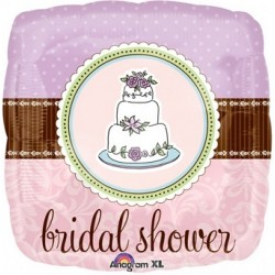 "Bridal Shower Whimsy Cake 18"" Square Foil Balloon"