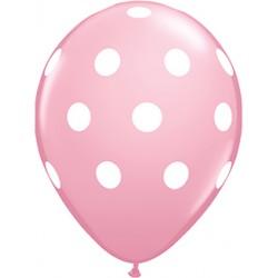 "11"" Round Big White Polka Dots Pink Latex Balloon (with helium)"