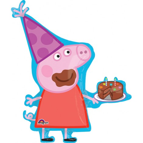 "Birthday Peppa Pig Foil Balloon - 30""W x 33""H"