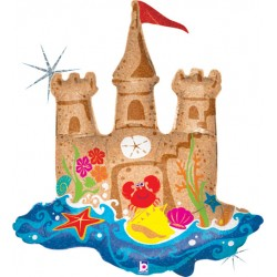 """Sand Castle Holographic Balloon - 33"""" (H) x 28 (W)"""