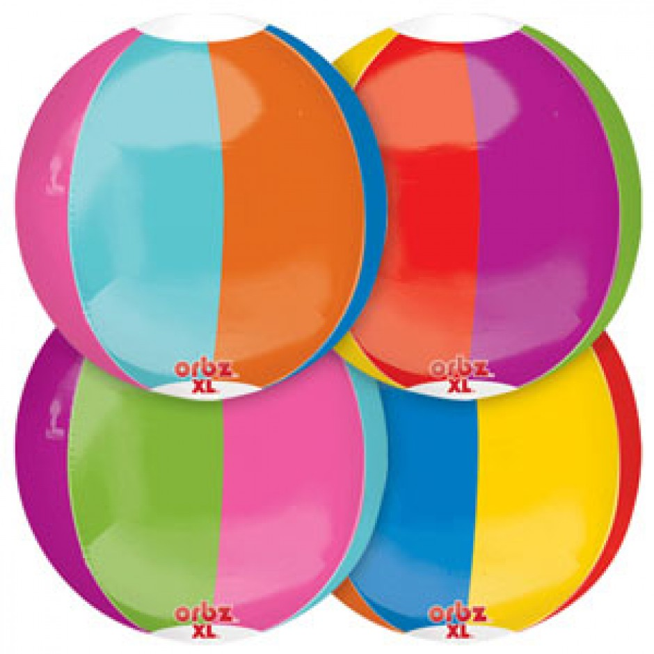 "Beach Ball Orbz Foil Balloon - 15"" W x 16"" H"
