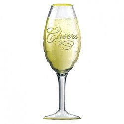 "Champagne Glass Foil Balloon - 14""W x 38""H"