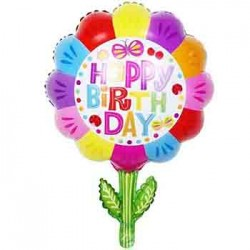 "Happy Birthday Flower 24"" Foil Balloon"