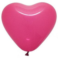 "12"" Heart Fuchsia Latex Balloon (with helium)"