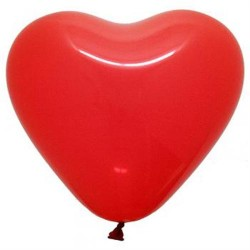 "12"" Heart Red Latex Balloon (with helium)"