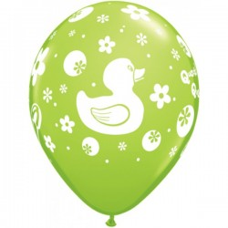 """11"""" Round Rubber Duckie Lime Green Latex Balloon (with helium)"""