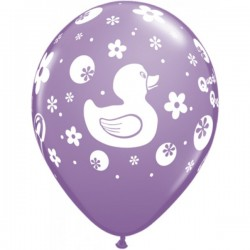 """11"""" Round Rubber Duckie Spring Lilac Latex Balloon (with helium)"""