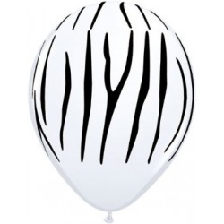 "11"" Round Safari - Zebra Stripes Latex Balloon (with helium)"