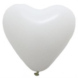 "12"" Heart White Latex Balloon (with helium)"