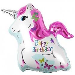 "Unicorn Happy Birthday Foil Balloon - 29"" x 24"""