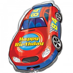 "Race Car Birthday Foil Balloon - 20""W x 28""H"