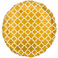 "Gold & White 18"" Quatrefoil Balloon"