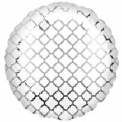 "Silver & White 18"" Quatrefoil Balloon"