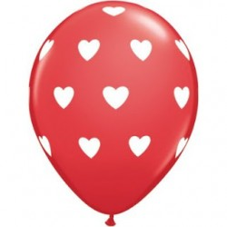 "11"" Round Big Heart White on Red Latex Balloon (with helium)"