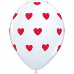 "11"" Round Big Heart Red on White Latex Balloon (with helium)"