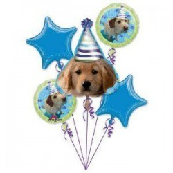 Party Pups Birthday Foil Balloon Bouquet of 5 (with weight)