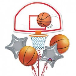 Basketball Foil Balloon Bouquet of 5 (with weight)
